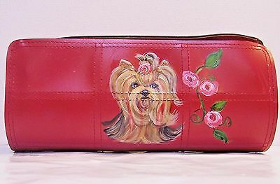 Yorkie dog hand painted  Estee Lauder simulated leather cosmetic bag