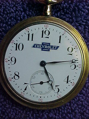 Antique Waltham Pocket Watch w / Chevrolet Automobile Advertising Logo  BOW/TIE