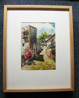 Early 20th Century Spanish Village Original Watercolor Max V - Vibrant Colours