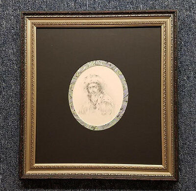 1800's Original English Pencil Etching of King Richard III Signed Artist Framed