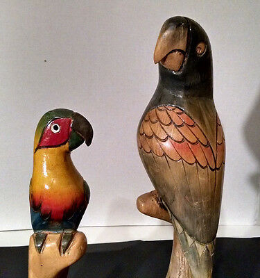 Vintage Hand Carved Wooden Lot of Two Colorful Tiki Bar Parrot Sculptures