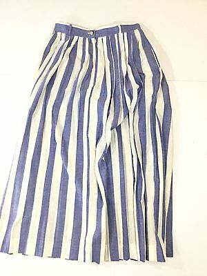 HAND WOVEN INDIA MADRAS Women's Sz 8  Blue/White Striped Full Pleated Long Skirt