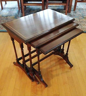 Vintage BRANDT Solid Wood Nesting TABLES English Antique CLASSIC Hagerstown MD