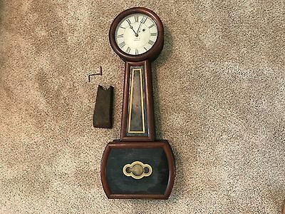 Antique Riggs Of Boston Weight Driven Banjo Clock