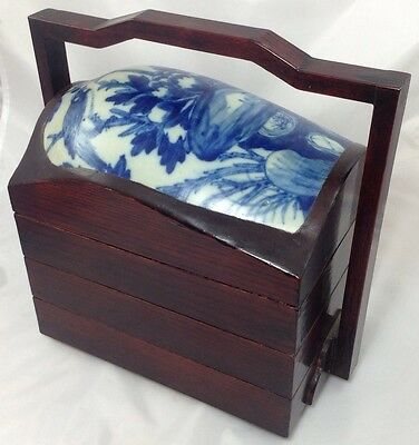4 Tier Vintage Chinese Food Basket   w/ Blue White Porcelain Plaque