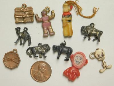 Group of 10 Charms Cracker Jack Gumball Popeye Robot Tweetie Bird Animals  T10