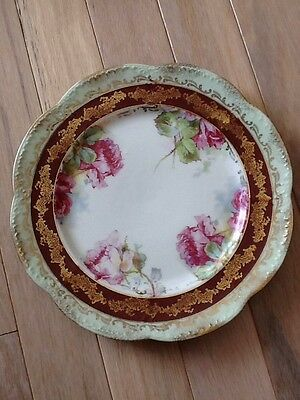 Imperial China Austria Plate Green Red & Gold Flowers Scalloped Edge 8 1/2""