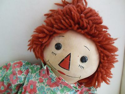 VINTAGE 1930's GEORGENE OUTLINE NOSE RAGGEDY ANN DOLL ~ TAG~ EXCEPTIONAL!
