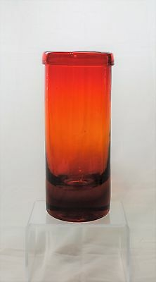 Vintage Blenko Hand Blown Glass Vase with Folded Rim - Myers - 659S - Tangerine