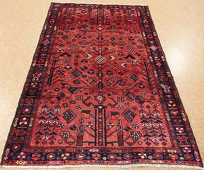 Persian LURI Tribal Nomadic Hand Knotted Wool RUST NAVY PINK Oriental Rug 5 x 7