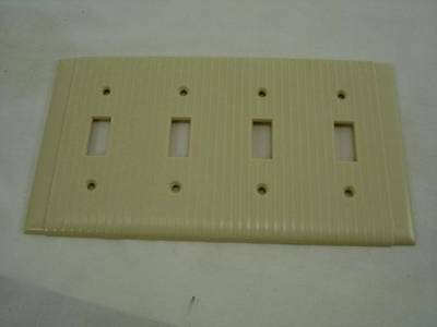 Vintage Bryant Ivory Ribbed 4 Gang Switch Cover Plate Mid Century Lines NOS #4