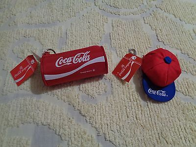 Lot of 2 Coca Cola Coin Change Holder Purse Keychain Bag Fob NWT NOS NEW