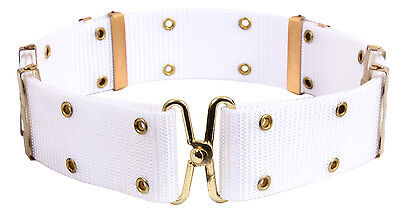 Military Style Pistol Belt Size Large Metal Buckle White Rothco 9059
