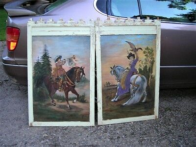 Unique Fun Pair Of Antique Folk Art Paintings On Board. Really Unusual 27X42