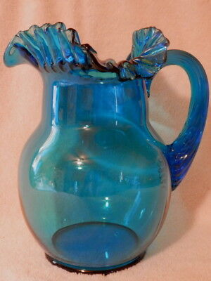 """9"""" Tall Azure Blue Glass Ruffled Rim Pitcher With Reed Handle Mint! No Reserve!!"""