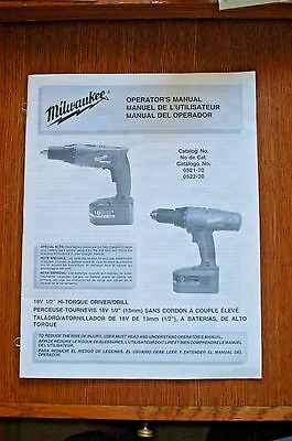 Milwaukee Manual 0521-20 0522-20 18 Volt Hi Torque Driver Drill Free Shipping