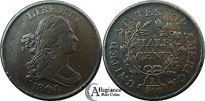 1804 1/2c Draped Bust Half Cent EF XF + to AU rare old coin CROSSLET 4, NO STEMS