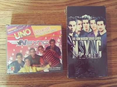 "Factory Sealed N SYNC UNO Game & Bonus CD +  VHS Tape ""Live in N.Y.C."" 2000 MINT"