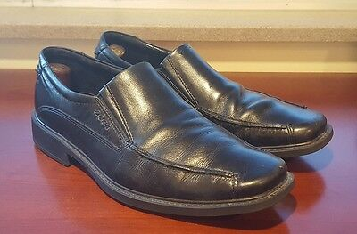 ecco mens black leather casual dress slipon shoes loafers