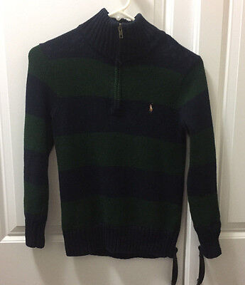 POLO RALPH LAUREN BOYS 1/4 ZIP SWEATER NAVY and Green Size 8