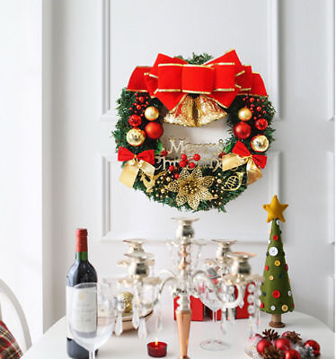 1PCS Christmas Wreath With Bow Handcrafted Holiday Wreath For Door  Decor 36CM