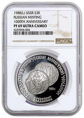 1988 USSR - Silver 3 Rubles - 1000th Anniv Russian Minting - PF69 UC - NGC Coin