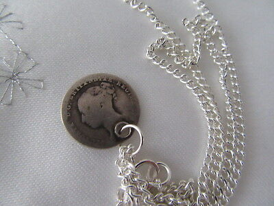 Antique Drilled 925 Silver Four Pence Coin Necklace / Pendant