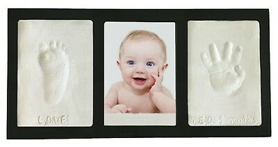 Clay Handprint &ftprint Keepsake Photo Wall Mount Frame Black Baby Hand Footprin