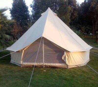 Waterproof Cotton Canvas Camping Bell Tent Glamping Tent for Family Tent Shelter