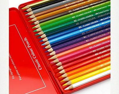 Faber-Castell 24 Color Class Pencils Colour Art Charcoal Wood 3.3mm lead N_v