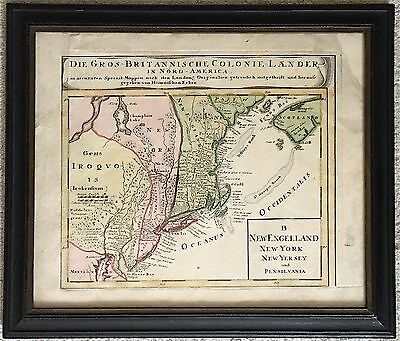 1750 New England New York New Jersey Pennsylvania Homann Hand Colored Map