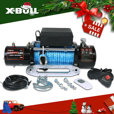 X-BULL 12000LBS/5443KGS Synthetic Rope Electric Winch 4WD ATV BOAT TRUCK