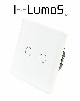 I LumoS Luxury White Glass Panel Touch Dimmer LED Light Switches