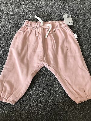Baby Girl Pink Linen Trousers Size 6-9 Months From H&M