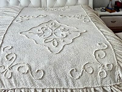 Retro Single Bed Soft Cream  Chenille  Bedspread With Tailored Skirt  C 1960's