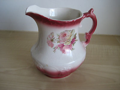 """Vintage Rockingham Jug 6 """" High Pink With Roses. Excellant Condition"""