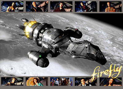 FIREFLY - Serenity Ship with Cast - Canvas Print Poster 8X10""
