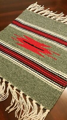 Chimayo 100% Wool Textile 10 X 10 Seafoam  Color  Weaving Made in New Mexico
