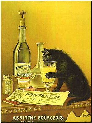 Vintage Alcohol Ad- Cat Absinthe Bourgeois Canvas Print Poster 18X12""