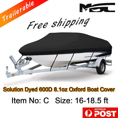MSC Heavy Duty 600D 16-18.5ft 4.8-5.6m Marine Grade Trailerable Boat Cover black