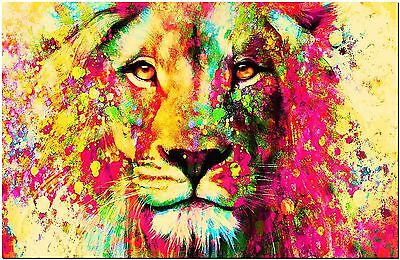 "Abstract Watercolor Lion Canvas Print Poster 8X12"" watercolour"