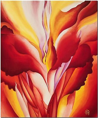 Beautiful Red O'Keefe Flower Canvas Print Poster  12X16""