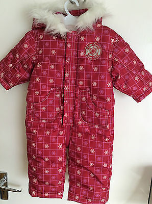 Roots (Canada) Designer Red/Pink Baby Snowsuit - 6-12 Months (BNWT) Downfilled