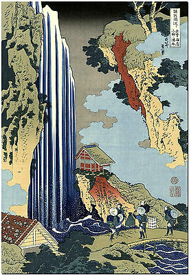 Famous HOKUSAI Japanese  ONO WATERFALL Canvas Print Poster 8X10""