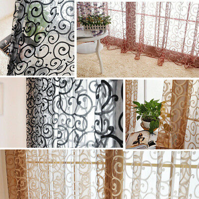 Vintage Floral Tulle Voile Curtains Door Window Deco Drape Panel Sheer Curtains