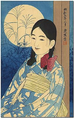 Japanese Woodblock Art Ito Shinsui Girl in Moon Light Canvas Print 12X16""