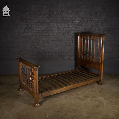 Late Victorian Oak Single Bed with Spindle Foot and Headboards