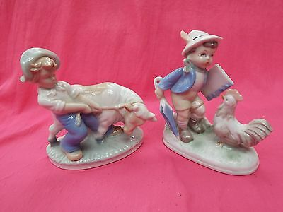 HCF and Continental Porcelain Figures of Boy with Calf & Boy with Cockerel