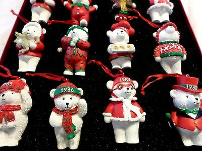 New Dayton Hudson 16 Santa Bear Ornaments - Collector Box Set~Vintage Unused