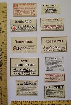 Lot of 11 Antique Apothecary, Pharmacy, Druggist Drugstore Bottle Gummed Labels